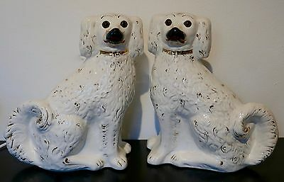 Pair Extra Large Vintage Staffordshire Pottery Dogs Glass Eyes Iconic 32cm tall