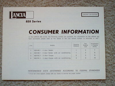 """1975 Lancia Consumer Information Brochure - 4 Pages - 6 x 8.25"""""""