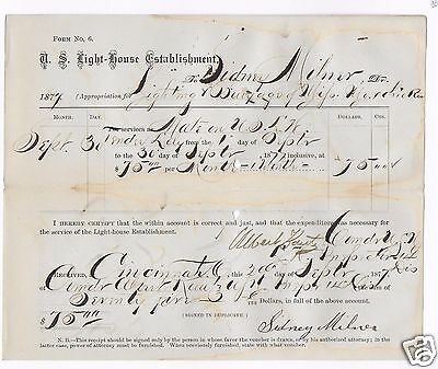 Lighthouse Tender Lily Pay Voucher For Sidney Milner As Mate On The Steamboat
