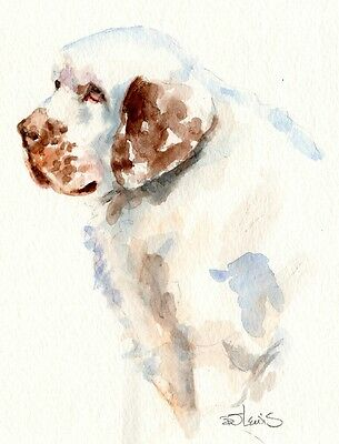 CLUMBER SPANIEL Original Watercolor Double Matted 8x10 Ready to Frame