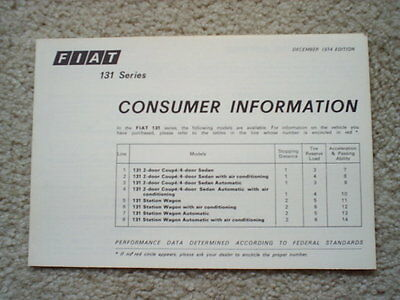 1974 Fiat Consumer Information Brochure - 4 Pages - 5.5 x 8
