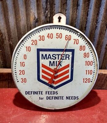 "Vintage 1950's Master Mix Poultry Chicken Feed Farm 10"" Metal Thermometer Sign"