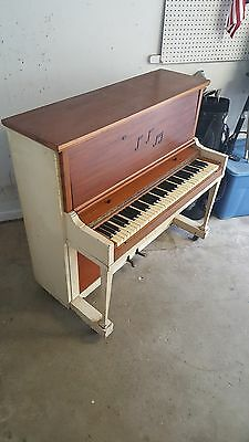 Antique Upright Piano Cunningham Co.  1915 Natural & Painted Wood