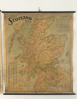 1902 Scotland Huge Hanging Wall Map With Wooden Rollers