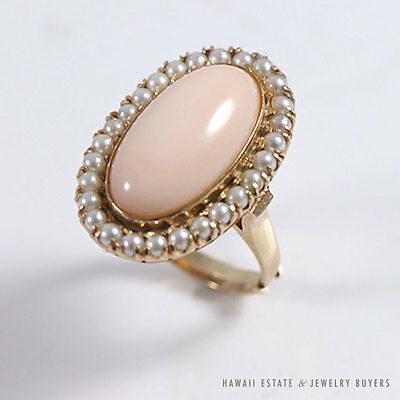 Angel Skin Pink Coral & Cultured Seed Pearl 14K Yellow Gold Fashion Ring (Sz 5)