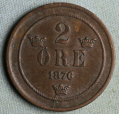 Sweden 1876 2 Ore~Combined S.& H.