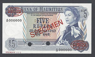 Mauritius 5 Rupees ND(1967) P30cs Signature 4  Specimen TDLR Uncirculated