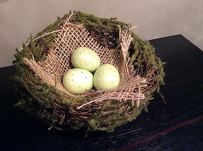 """Easter Spring Birds nest with moss, burlap and 3 speckled eggs - 4 1/2"""""""