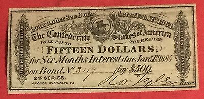 1864 $15 US Confederate States of America! CHOICE FINE Old US!