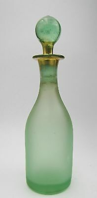 Antique Frosted Green Glass Perfume / Scent Bottle W/ Stopper