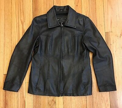 Winlet New York~Women's~Black Thick soft Leather Jacket~Size M