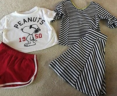 Girls Lot Of 2 Outfits Skirt Set And Short Set Size 10-12 GUC
