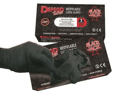 100 Guantes Negros de Latex SIN Polvo Defend Tattoo - Maximo Agarre - Piercing