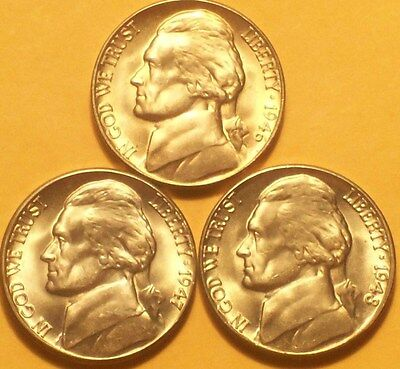 Lot of 3 BU Jefferson nickels #7 46D,47D.48D  BU Uncirculated