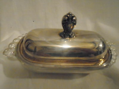 Antique 1847 Rogers Bros Heritage Teardrop Butter Dish Silver Top~Duchan Miller