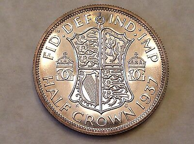 - 1937 Great Britain One Half 1/2 Crown Proof George VI coronation issue