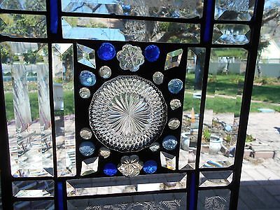 Stained Glass Window Tiffany Style One Of A Kind Art Blue Accents