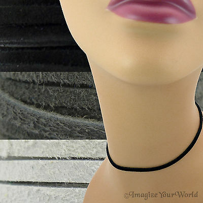 3 mm Suede Lace Necklace or Choker Custom Length pick shade Black+ leather cord