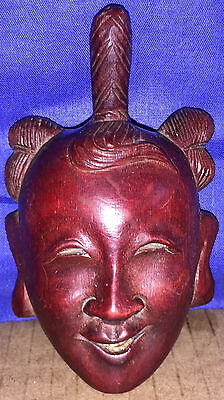 Antique CHINESE CARVED ROSEWOOD MASK ROSEWOOD MASK WITH BONE