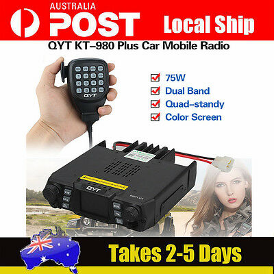 QYT KT-980 Plus Dual Band Quad-standy Car Mobile Radio+Speaker Microphone 2Tone