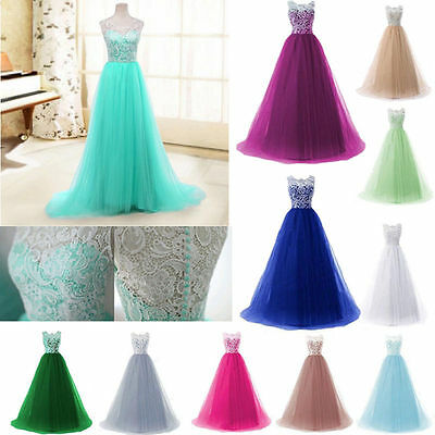 Long Lace Chiffon Dress Evening Party Ball Gown Prom Bridesmaid Cocktail Dresses