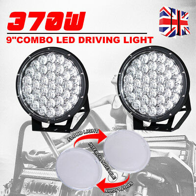 """2X 9 Inch 370W CREE Spot Flood LED Round Driving Lights Spotlight Offroad 4WD 7"""""""