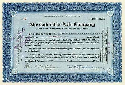 1926 Columbia Axle Co Stock Certificate