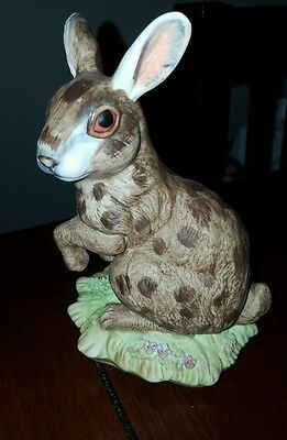 Vintage Signed J Byron Royal Crown Porcelain Rabbit brown with spots 6''