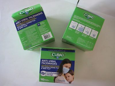 Curad Antiviral Face Mask with Ear Loops, 3 Boxes of 10 Masks each