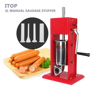 SAUSAGE STUFFER 3L 6.6LB Pound Meat pork beef Filler Stainless Steel redpainting