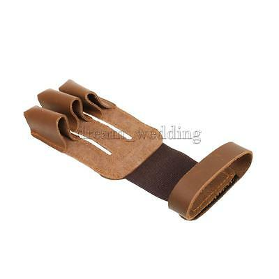 Shooting Hunting Traditional Bow Archery Glove 3 Finger Guard Safety Gear