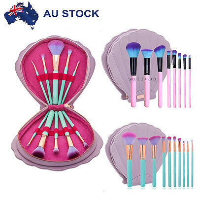 10Pcs Makeup Brush Set Tools Kit Powder Beauty Brushes With Shell Cosmetic Bag