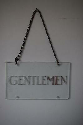 Stunning Antique Vintage Rare Hanging Glass Gentlemen Toilet Sign With Chain