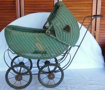 Antique Wicker Baby Doll Carriage Buggy Stroller Pram Victorian F. A. Whitney