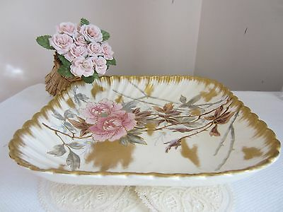 Large Antique Germany 18th C. porcelain with Gold dish bowl plate marked GIFT