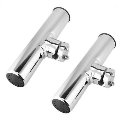 2Pcs 316 Stainless Steel Marine Boat Fishing Rod Holder Clamp On Rail Mount