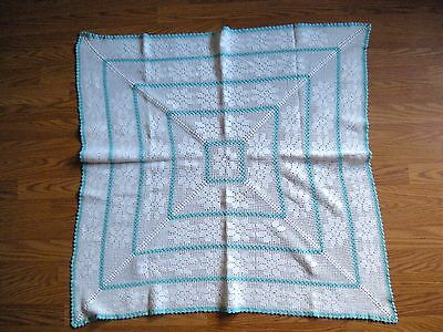 Vintage Crocheted Teal White Cotton Floral Design Tablecloth Card Table 36X40