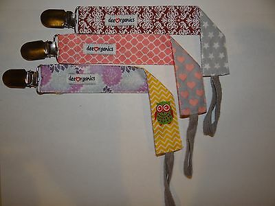 Pacifier Holder Clip 3 Pack Universal Fit Girls Design By Deeorganics