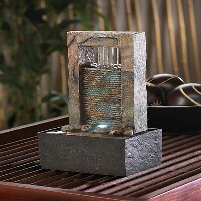 Peaceful Cascading Wall Water Tabletop Fountain w/ LED Light Feng Shui Zen NEW