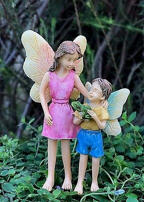 Miniature Dollhouse FAIRY GARDEN ~ Look What I Found Sister & Brother Pick ~ NEW
