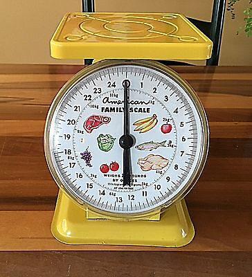 Antique Vintage AMERICAN FAMILY SCALE LBs & Oz. Lemon Yellow Working Beautiful