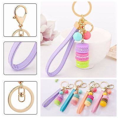 Bag Ornament Leather Rope Keychain Candy Color Cake Pendant Car Key Ring