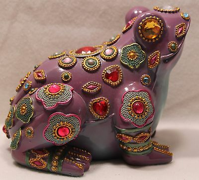 Frog Jewel Encrusted Figurine Statue Purple