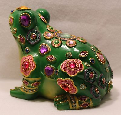 Frog Jewel Encrusted Figurine Statue Green
