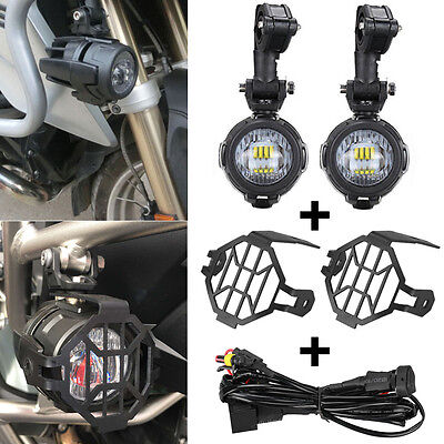 LED Auxiliary Fog Lights + Protector Cover + Wiring Harness For BMW Motorcycle