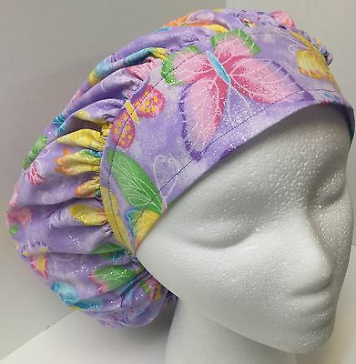 Purple Butterfly Print Size Large Medical Bouffant OR Scrub Cap Surgery Hat