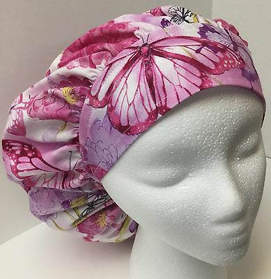 Butterfly Floral Print Size Large Medical Bouffant OR Scrub Cap Surgery Hat