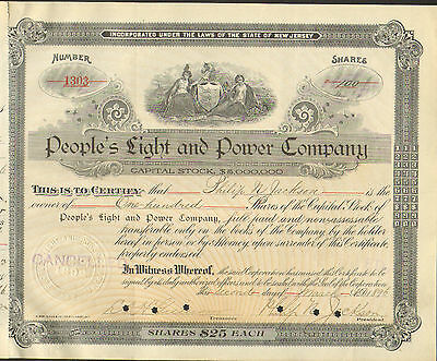 Peoples Light and Power New Jersey 1896 Newark Philip N Jackson 2 Ladies Shield