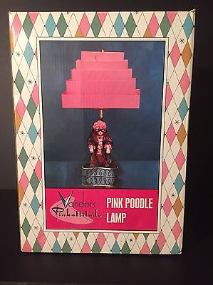 Vandor Retro 1950's Style PINK POODLE Lamp Metal Tiered Lamp Shade New In Box