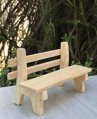 Miniature Dollhouse FAIRY GARDEN Furniture ~ Natural Wood Wooden Park Bench NEW
